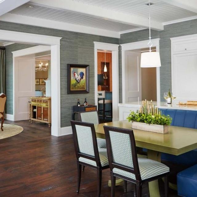 luxury kitchen open floor plan dark wood floors exposed white beams