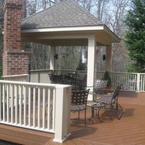 Trex deck ocean county NJ outdoor brick fireplace and custom gazebo