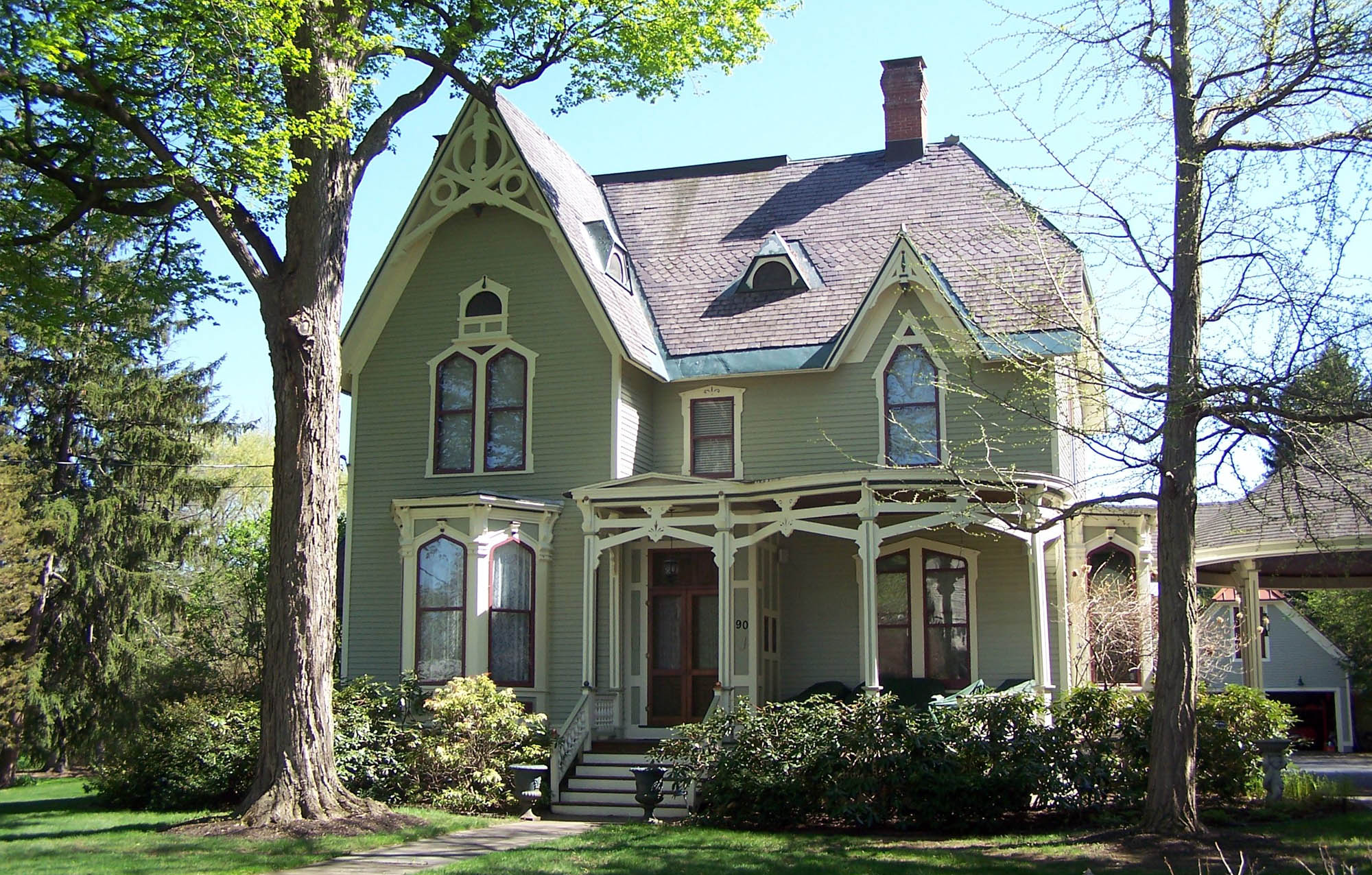 green house color ideas - victorian styled green house idea with light tan trim