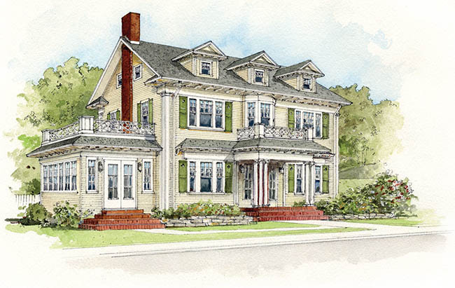 colonial home style architects drawing