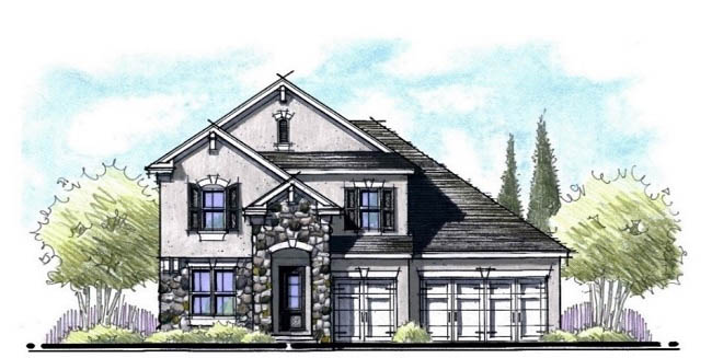 french country home architects rendering