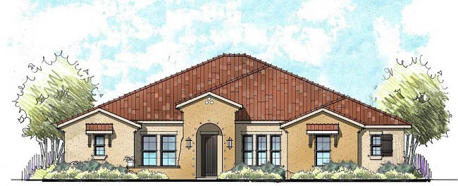 mediterranean style home architects rendering