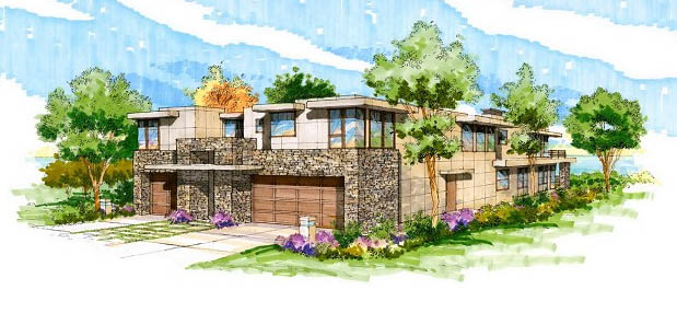 modern contemporary home design architects rendering