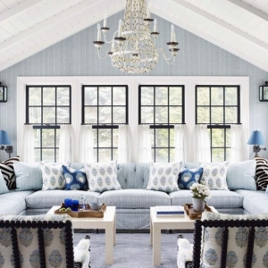 blue and white theme sunroom chandelier cathedral ceilings beadboard exposed beams nj custom sunroom builder
