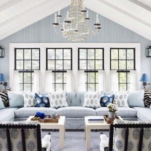 blue and white theme sunroom chandelier cathedral ceilings beadboard exposed beams nj custom sunroom builder