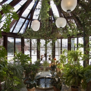 sunroom conservatory tons of plants glass ceiling nj custom sunroom builder Gambrick all wood sunroom