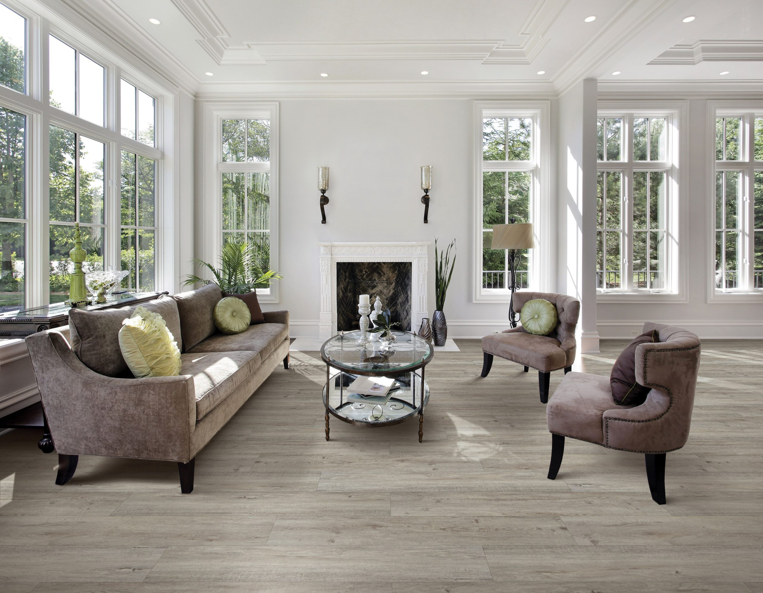 classic sunroom design gray tile floors with white walls and trim lots of glass white fireplace sunroom builder nj