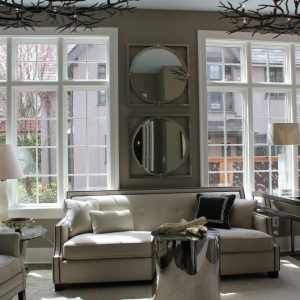 city sunroom gray and white colors gray walls white trim huge windows NJ custom sunroom builder