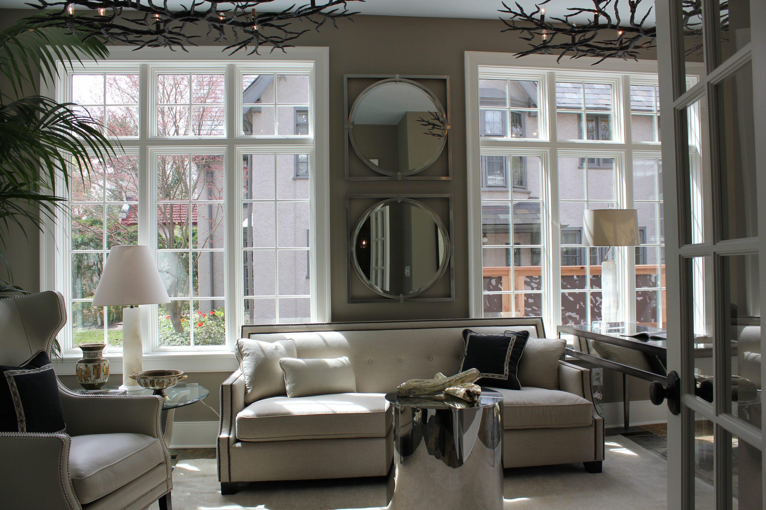 city sunroom gray and white colors gray walls white trim huge windows NJ custom sunroom builder