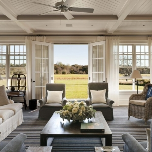 sunroom coffered ceiling and bead board striped rug plush sofas nj custom sunroom builder french doors white drapes
