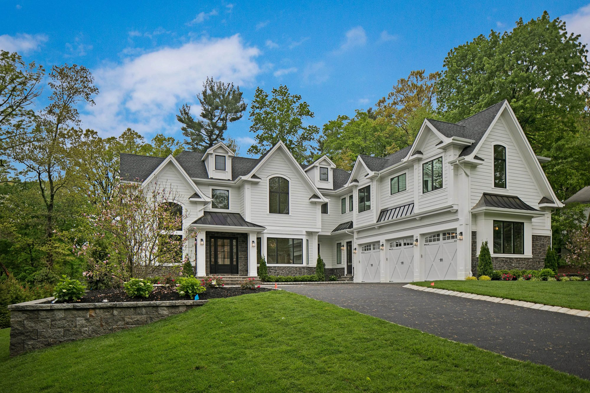 NJ Custom Luxury New Home Stunning custom white and black home NJ Mansion