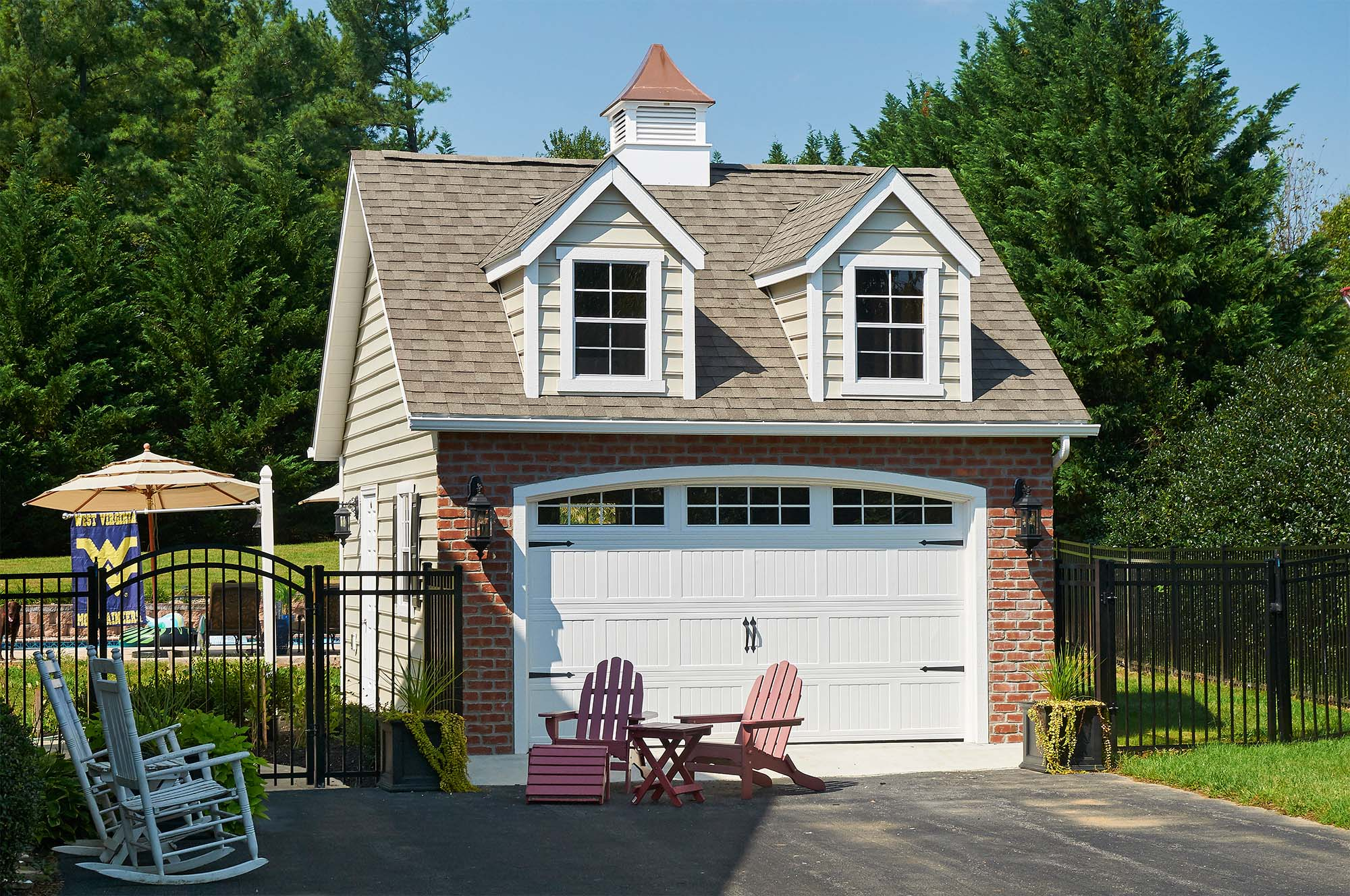 cute detached garage ideas one car garage with dormers red brick and white siding