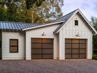 modern detached garage door design white vertical siding black framed doors and windows