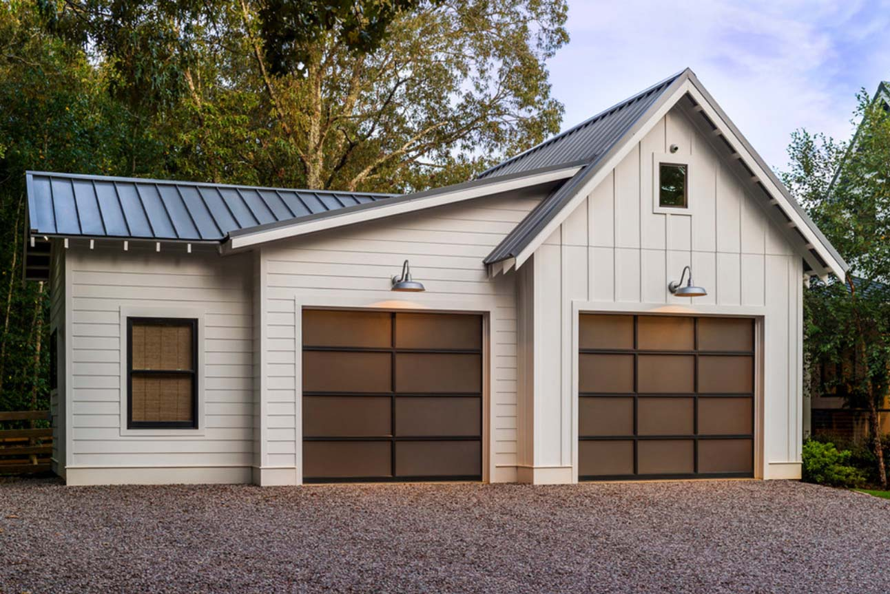 modern detached garage door design white vertical siding black framed doors and windows