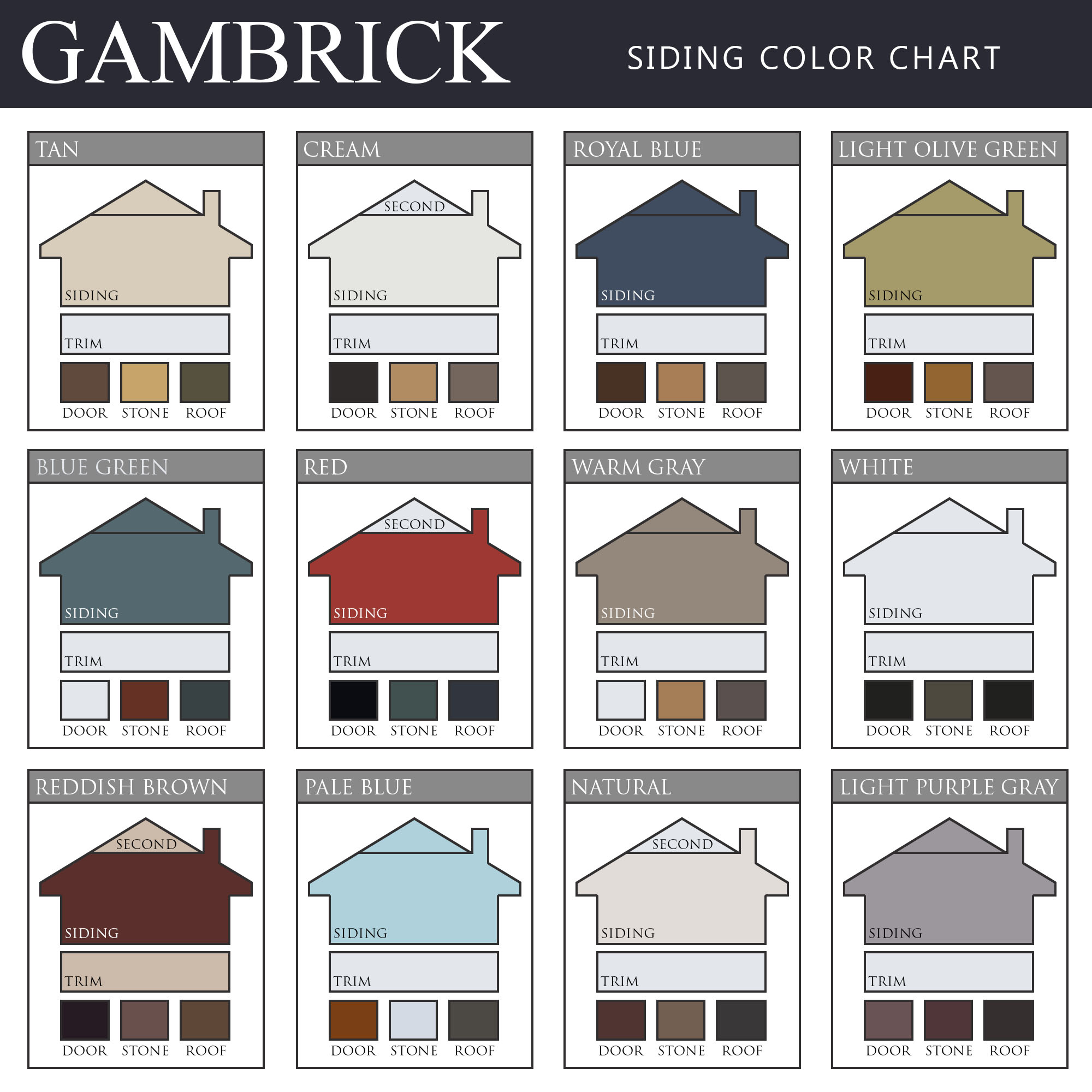 vinyl siding color chart infographic - Gambrick