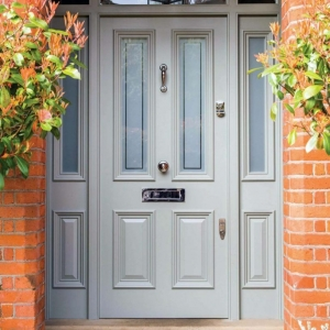 taupe front door color with red brick house glass transoms brushed nickel hardware