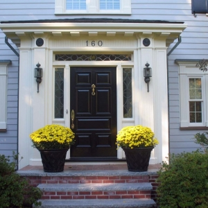 Black front door with transoms red brick stoop with limestone
