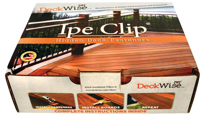 Ipe hidden deck fastener box of clips