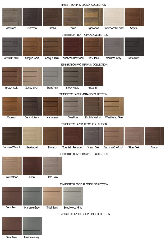Timbertech Decking Color Chart 1 Top Nj New Home Builder