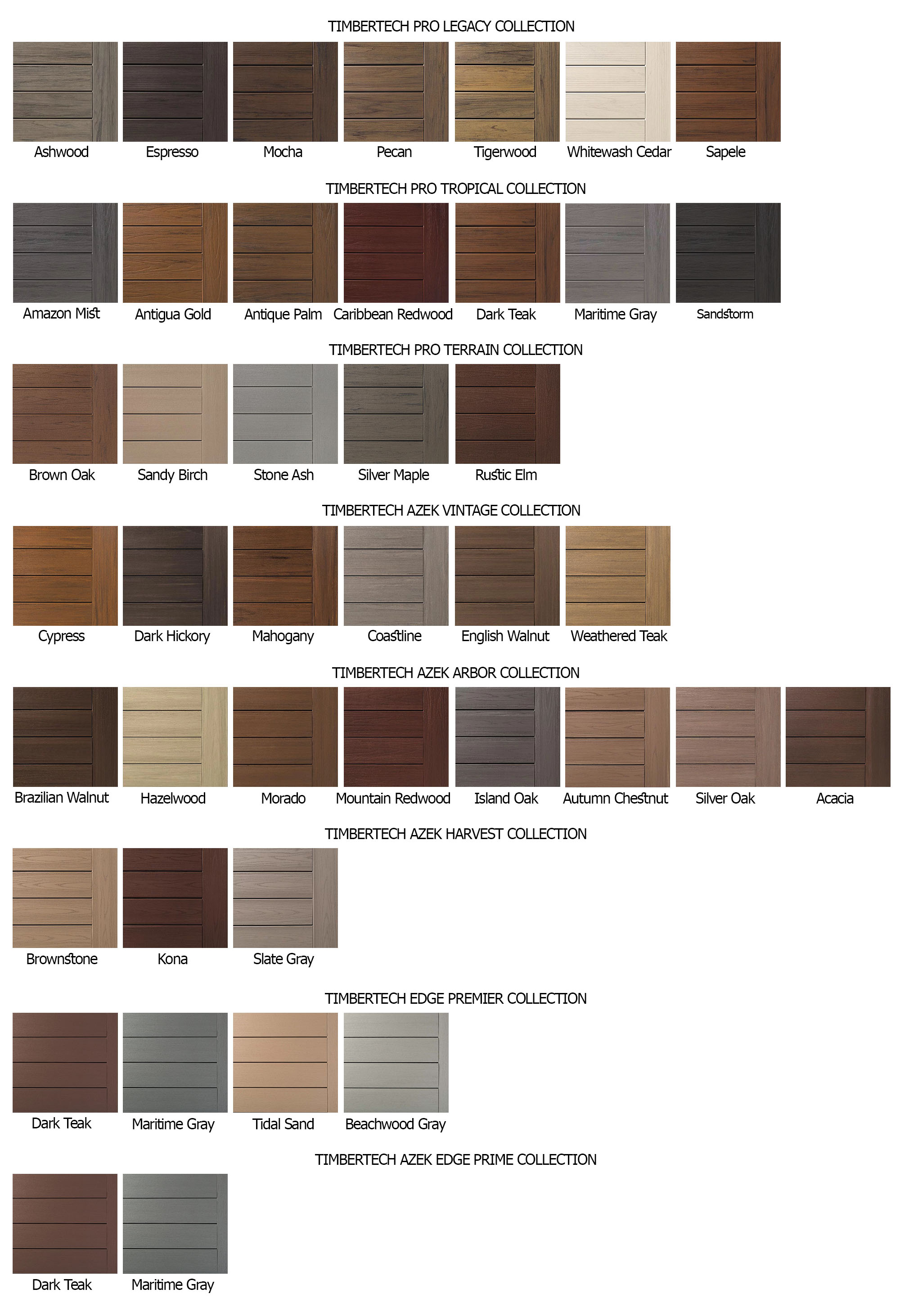 Timbertech decking color chart inforgraphic