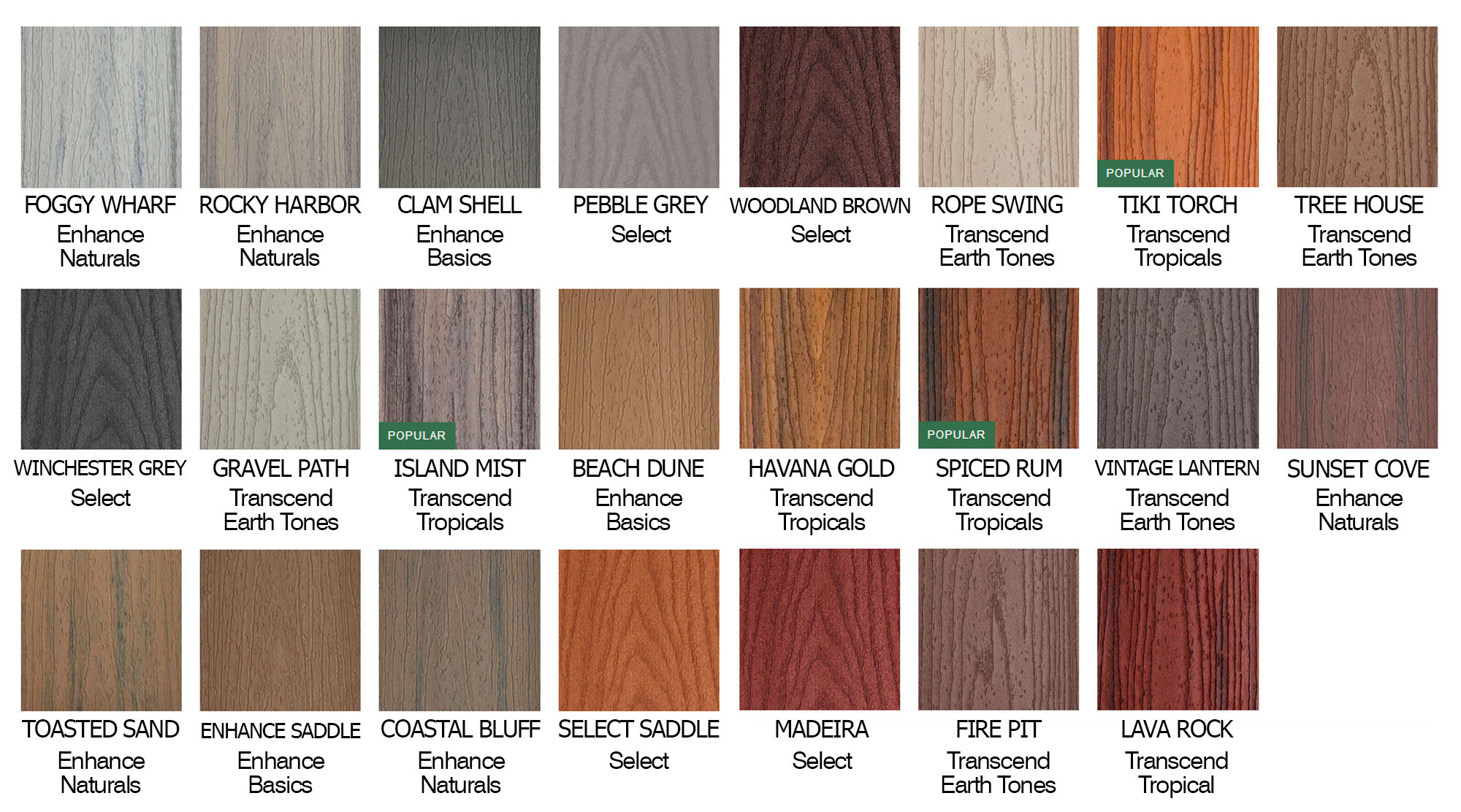 trex decking color chart infographic