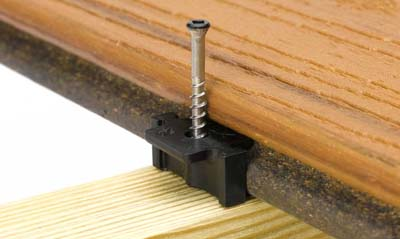 Trex Hideaway hidden deck fastener clip and screw