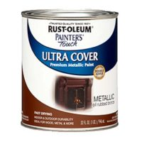 bronze metallic door paint for red brick house