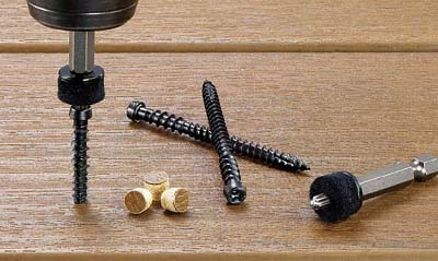 Cortex hidden deck fastener system screws and plugs