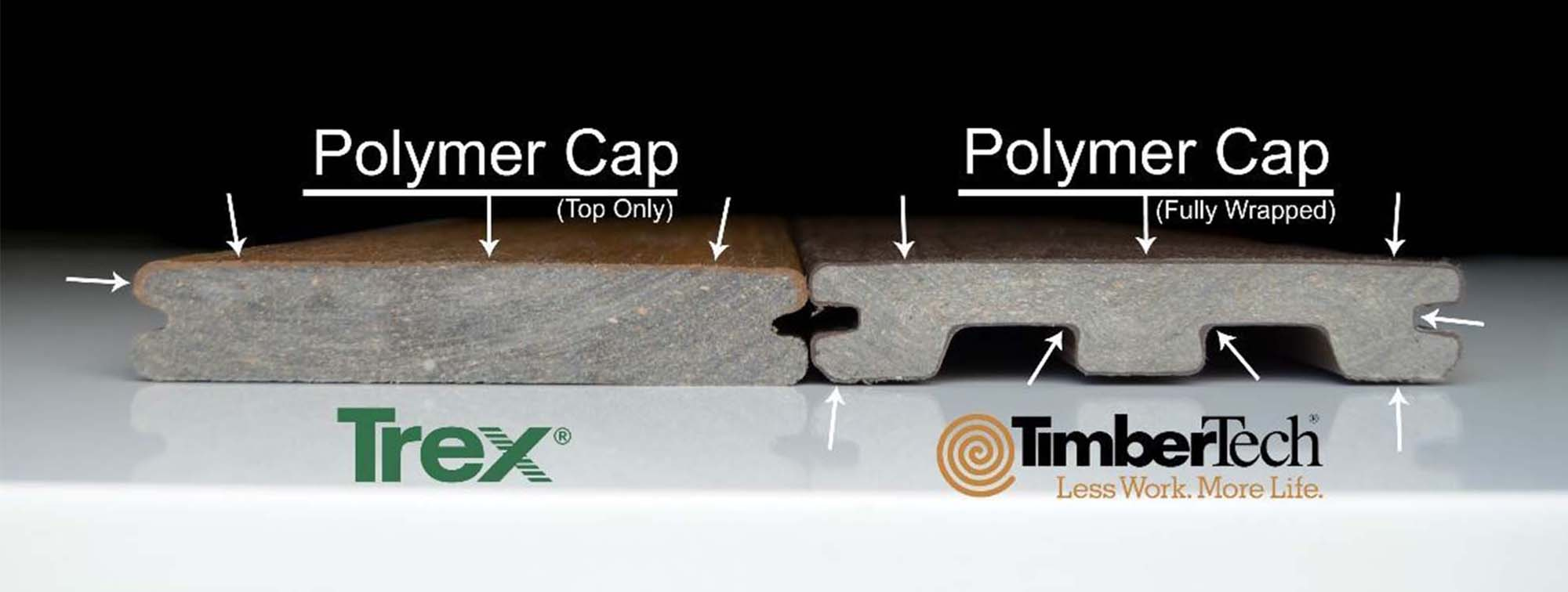 Trex vs Timbertech cap comparison chart