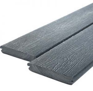 trex vs timbertech closup photo of composite gray decking