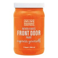 orange door paint for front doors with red brick house