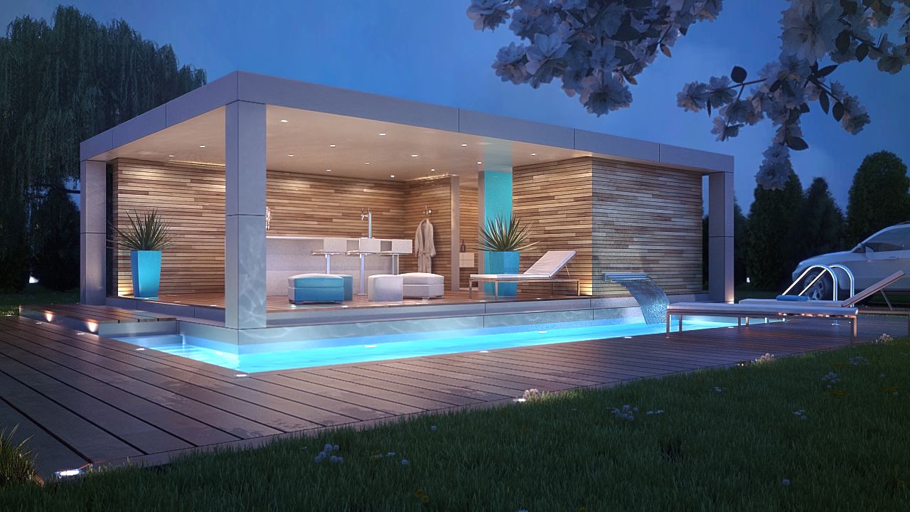 modern flat roof pool house design wood and stucco composite deck lighting twilight by the pool