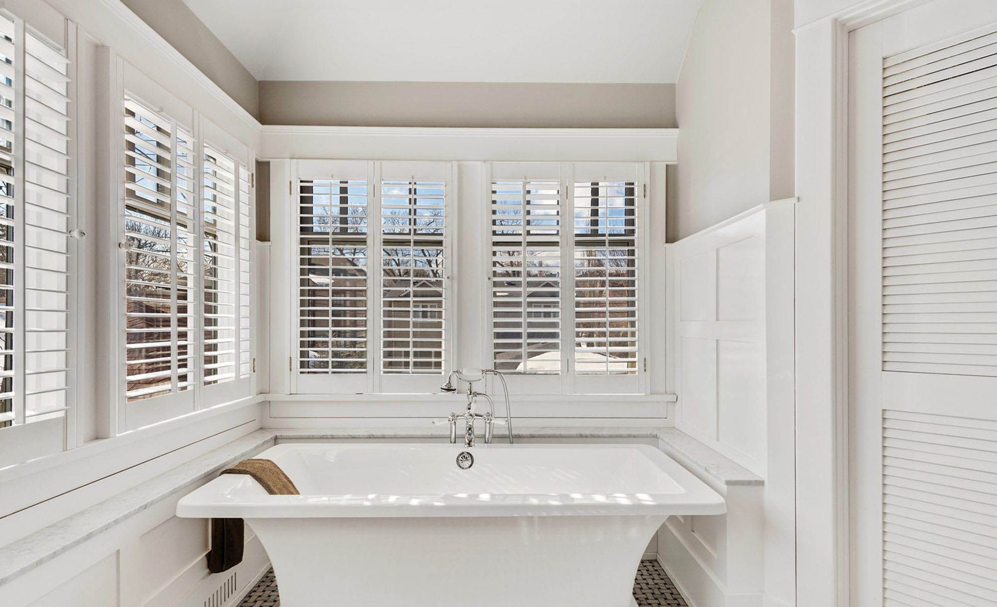 Box beam wainscoting design. Bathroom wall paneling adds sophistication like no other wall finish can.