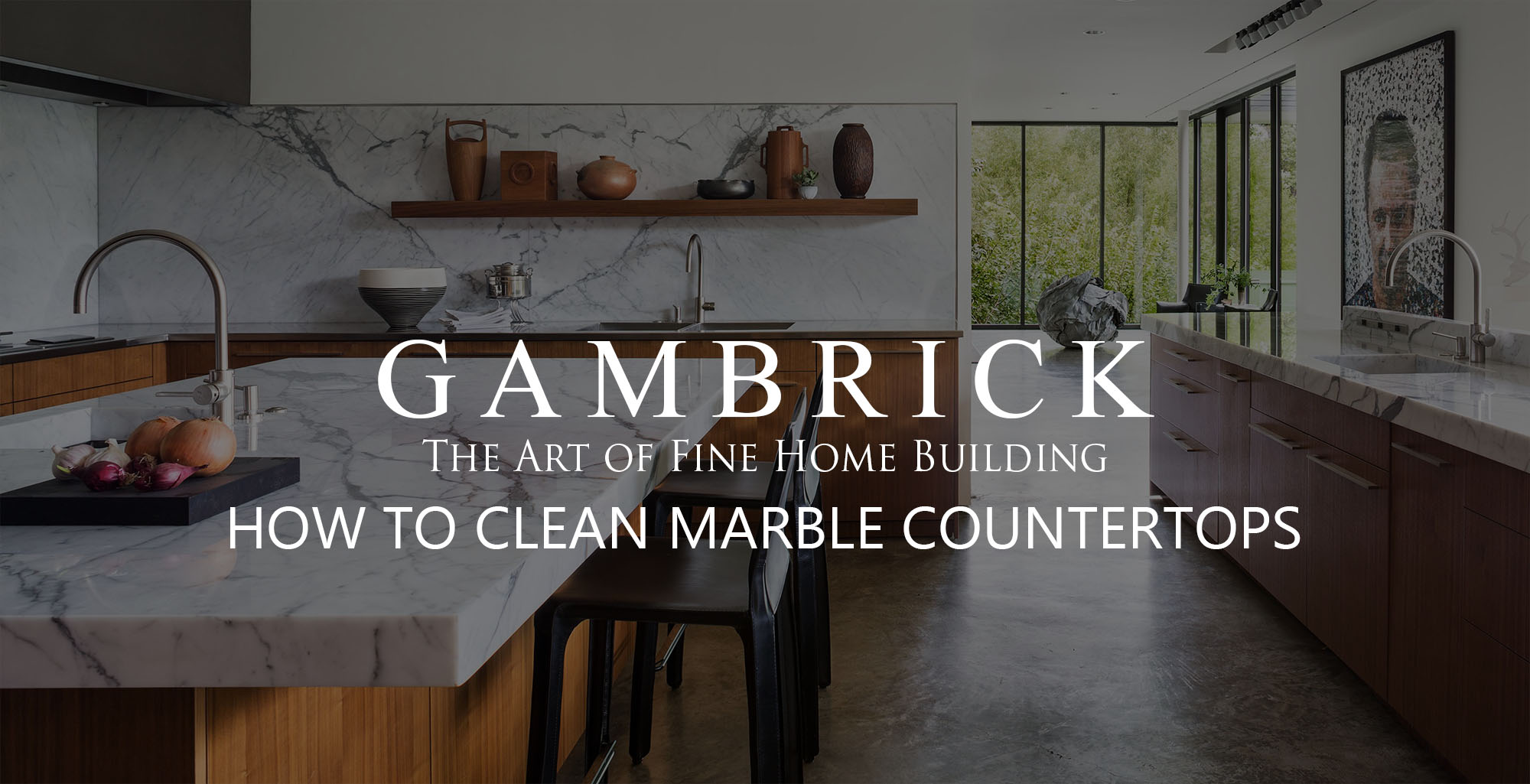how to clean marble countertops banner - Gambrick
