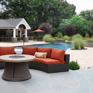 pool house designs blue stone patio wicker with red cushions real stone pillars Azek trim