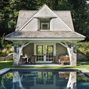 beautiful country pool house designs real stone with cedar shake in ground concrete pool