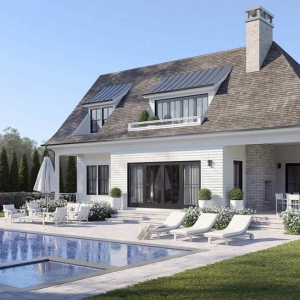 modern pool house design white siding black frame windows and doors brick chimney