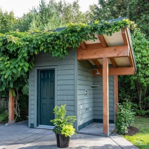 Small cute pool house shed design. Green siding and door with real wood beams. Concrete patio. Green plants overgrowing the roof.