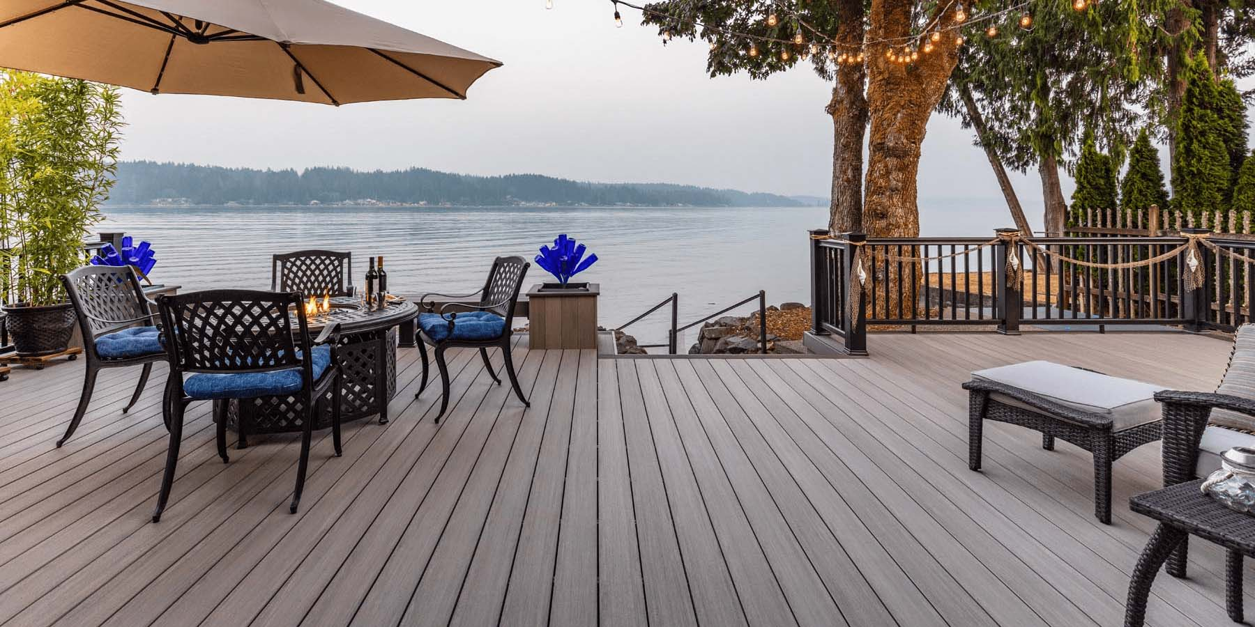 beautiful composite deck overlooking the river