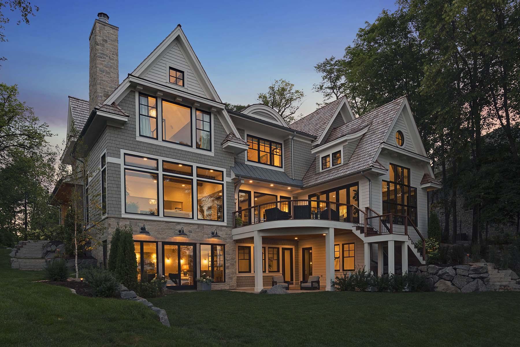 cedar shake with white azek trim tons of glass custom home trex deck