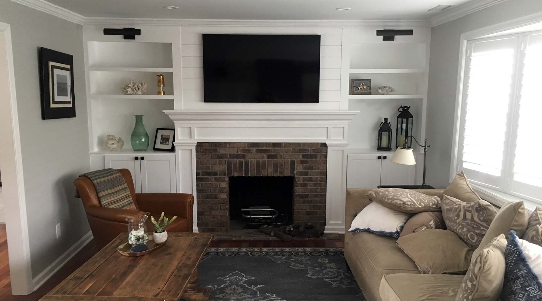 what are brad nails used for beautiful built ins around a brick fireplace
