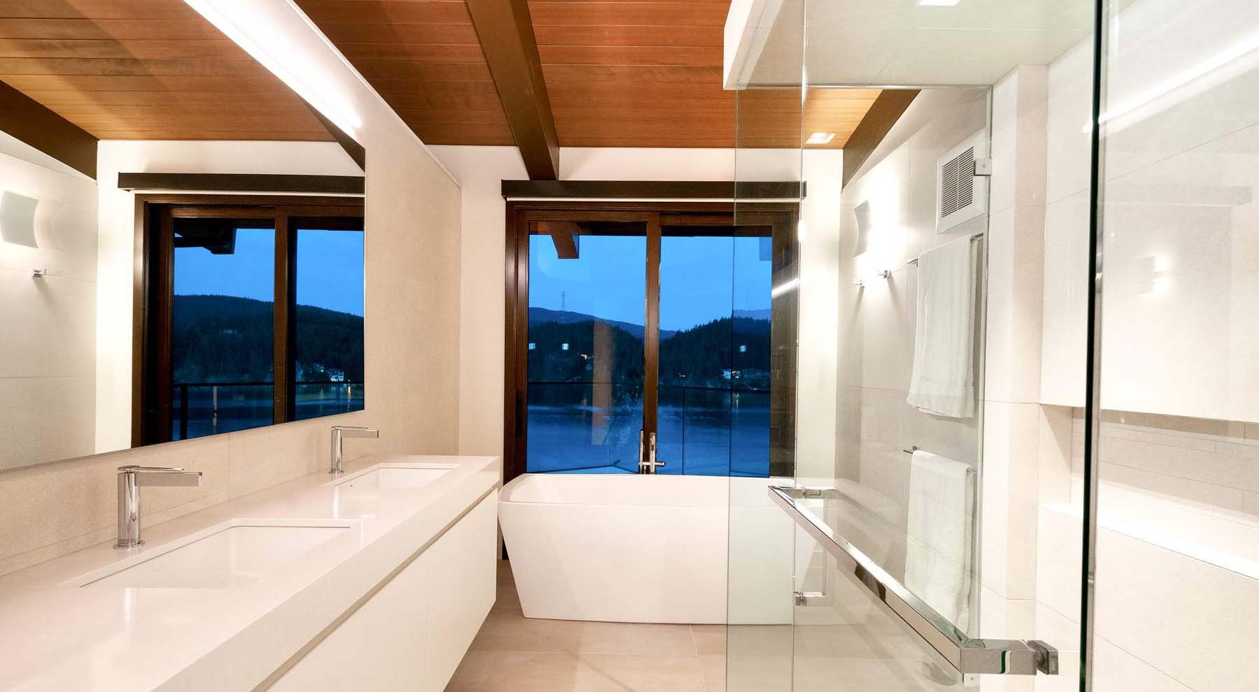 beautiful modern master bathroom design idea wood ceiling marble floors white soaking tub