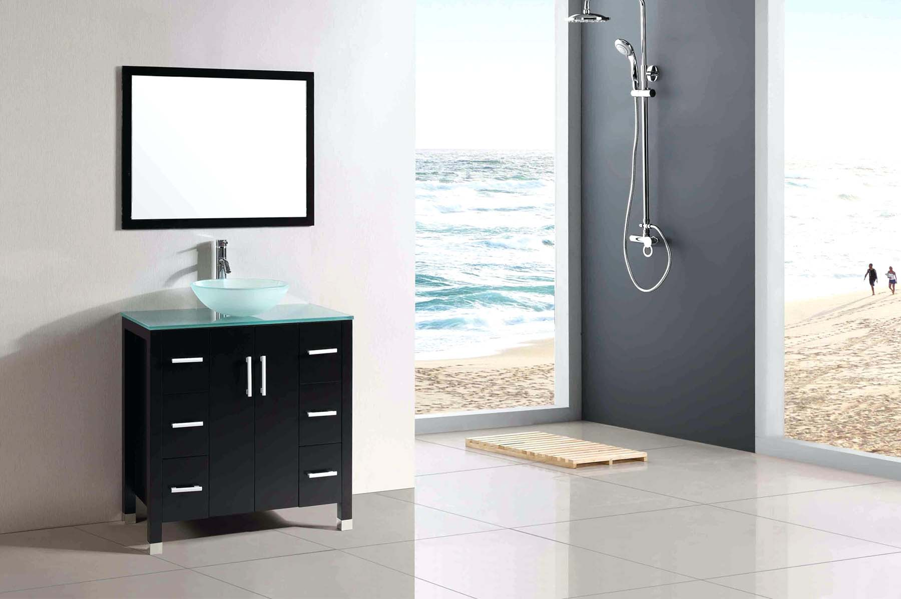 Minimalist modern bathroom design with an open floor plan. Black, gray and white color scheme.