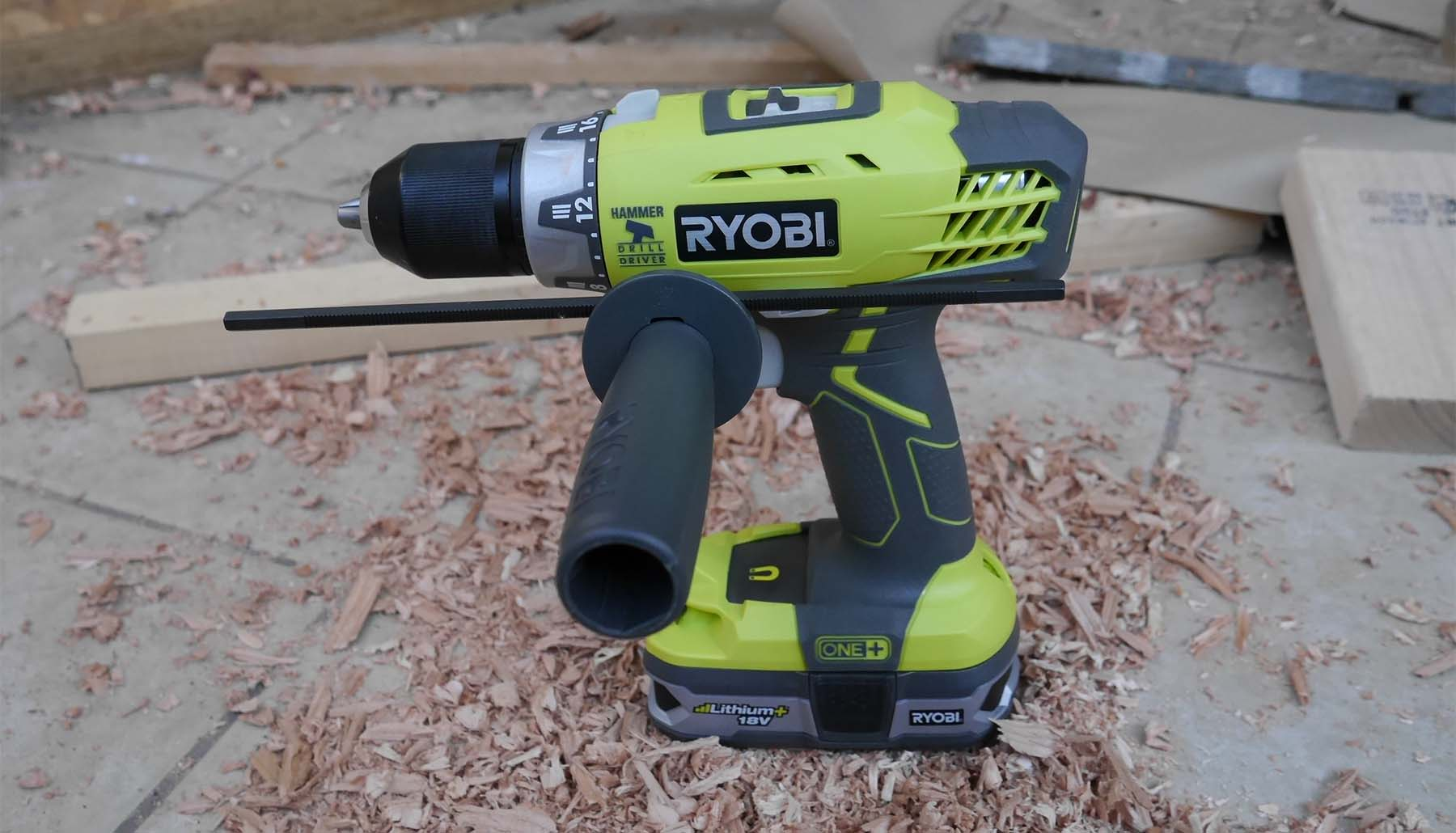 cordless drill with handle closeup picture