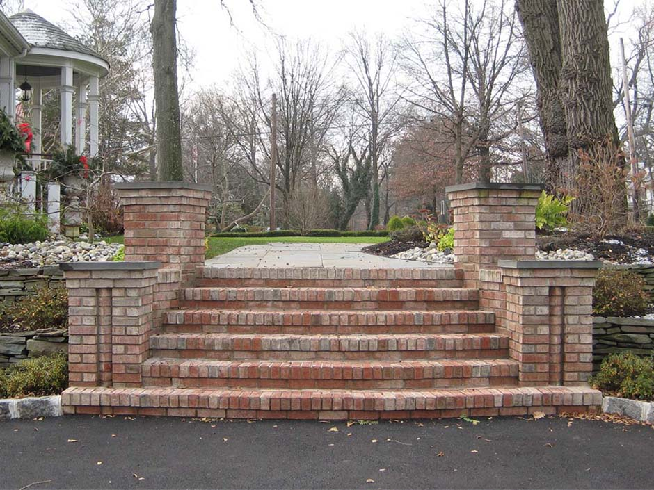 real brick front steps with pillars limestone caps
