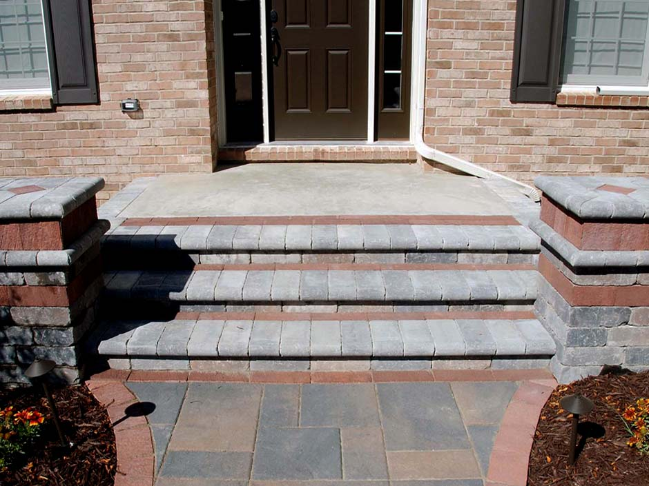 steps built with pavers and concrete