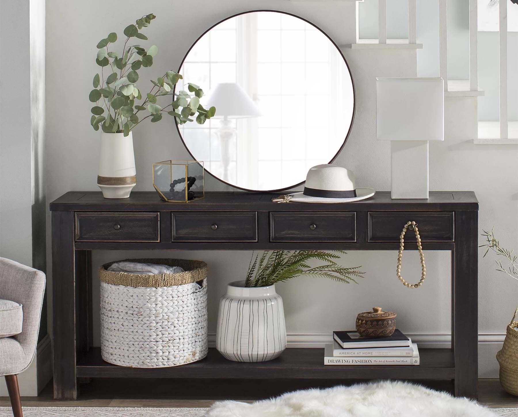 small foyer design ideas dark wood console table with round mirror and potted plant