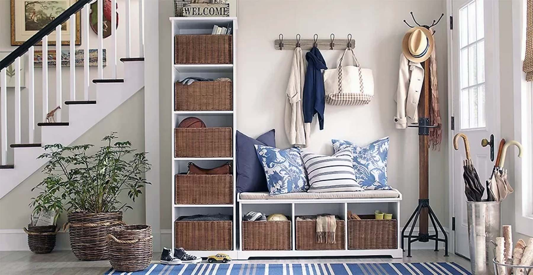 small foyer design ideas cubbies with bench seat and coat hanger plants and blue striped area rug