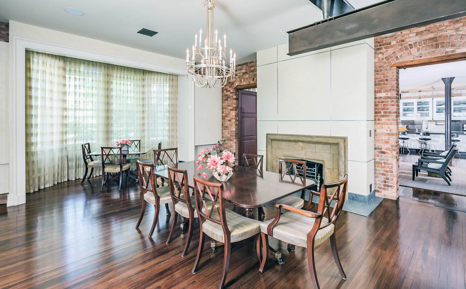 Red Brick Accent Walls With Cream Paint