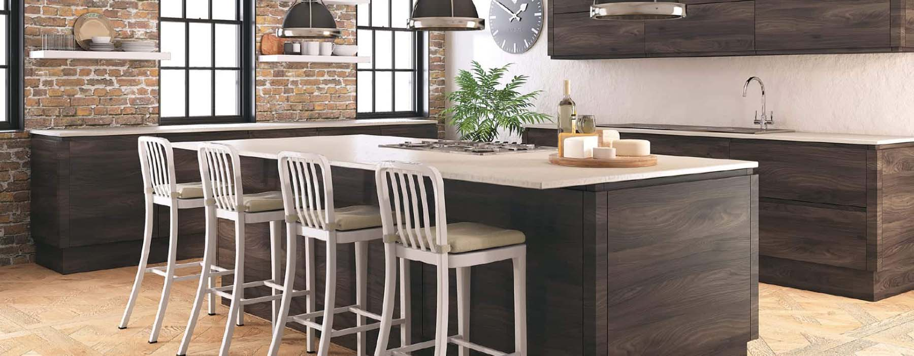 wood kitchen cabinets with white countertops red brick accent wall